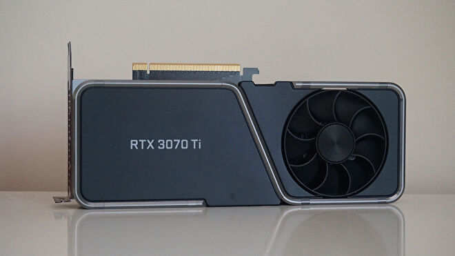 A photo of Nvidia's GeForce RTX 3070 Ti Founders Edition graphics card