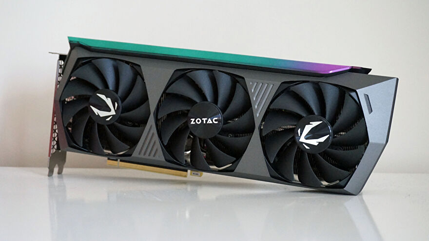 A photo of Zotac's GeForce RTX 3080 Ti AMP Holo graphics card