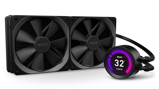 An image of the NZXT Kraken Z63 AIO watercooler, with a CPU temperature monitor on the pump.