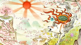 Artwork celebrating Okami's 15th anniversary showing Amaterasu and Issun looking out on a mountain scene