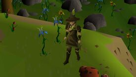 A screenshot of a player in Old School RuneScape, which has primitive 3D graphics.
