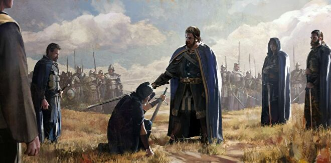 Artwork from Old World showing a king knighting a soldier in a field