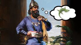 Artwork of a warlord thinking about a tuatara lizard in Old World