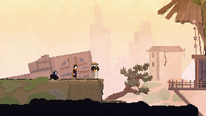An Olija screenshot showing people in a ruined city.
