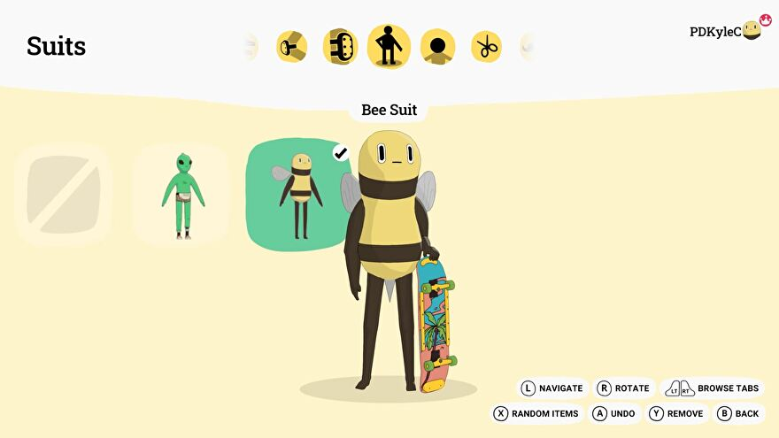 A skater in a bee onesie poses for the camera in Olli Olli World