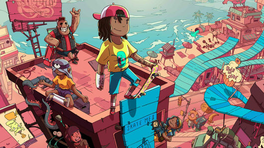 A skateboarder with her arm in a cast stands at the top of a perilous ramp atop a building in OlliOlli World's key art.