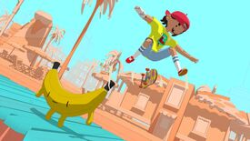 A character in a bright yellow shirt and red ballcap does a skateboard trick off the edge of a bench that looks like a banana.