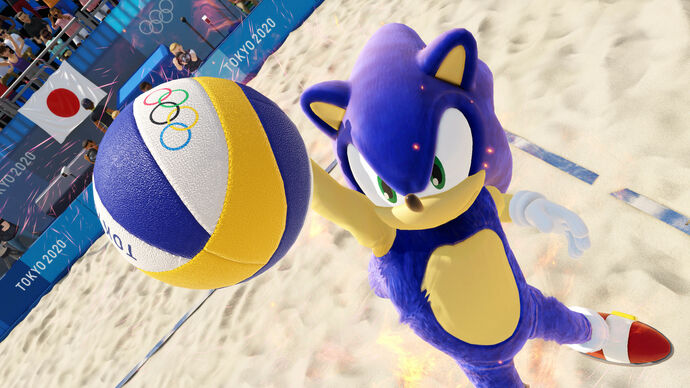 Olympic Games Tokyo 2020 - The Official Video Game: a character in a Sonic mascot outfit playing beach volleyball