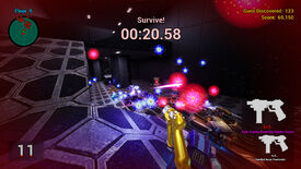"A screenshot of OMFG: One Million Fatal Guns showing a swarm of robots in a dull metal spaceship firing lasers at a first-person perspective player. The player is holding a golden gun called ""Epic Copious Powerful Spider-Queen""."