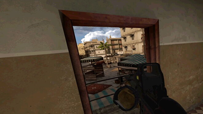 A player aims out of a window in Onward VR.