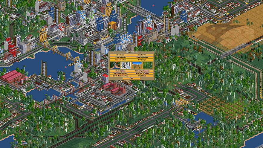 A screenshot of Open Transport Tycoon Deluxe, showing a city made of old sprite art, with train lines weaving between the buildings and across green fields.