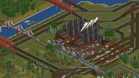 A factory in an OpenTTD screenshot, surrounded by a road, rail, and river transport network.