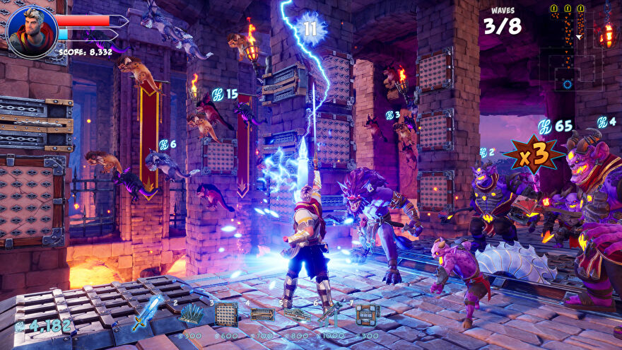 Orcs Must Die! 3 - The player unleashes a lightning attack while several monsters fly through the air and walk over the top of circular saws in the ground.