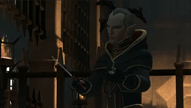 Orsino holding a knife above his hand about to become a bloc-monster in Dragon Age 2.