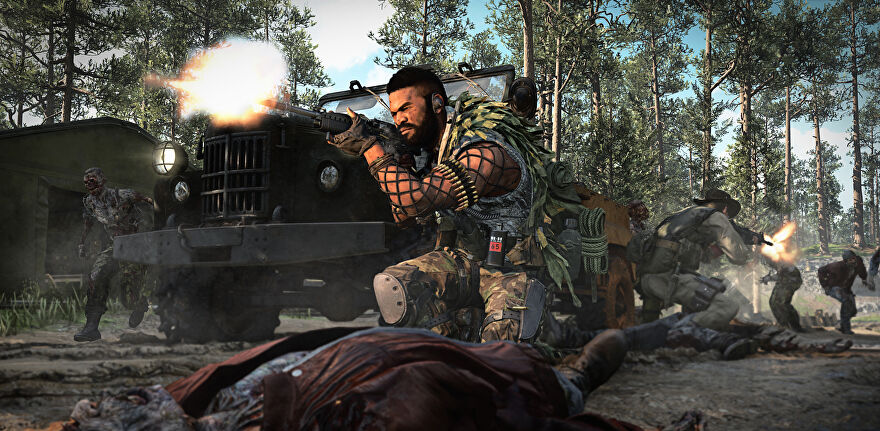 An operator fights off zombies in COD Cold War's Outbreak mode.