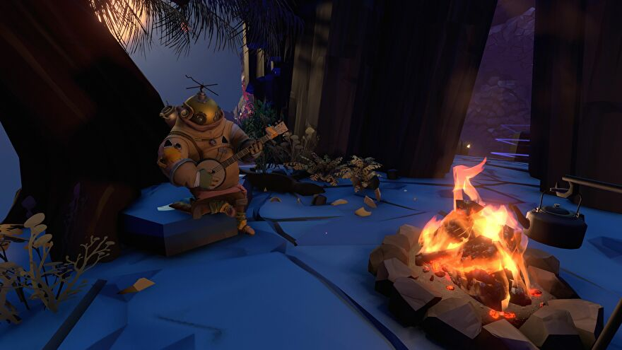 An Outer Wilds alien (?) plays the banjo by a fire.