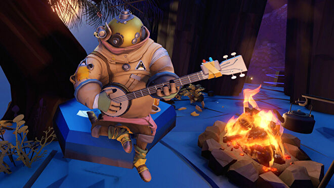 Riebeck from Outer Wilds playing his banjo by the fire