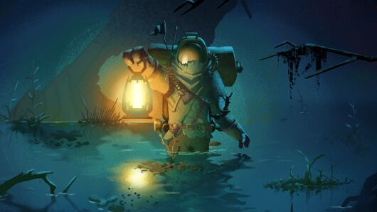 A space man from Outer Wilds trudging through some water with a lantern.