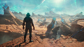 A person in a spacesuit looks over an alien desert dotted with blue crystal spires in The Outer Worlds 2's announcement trailer.