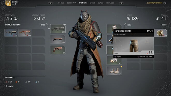 A screenshot of Outriders which shows me looking at my new Tarnished Pants.