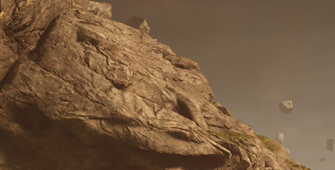 A close-up of a rocky outcrop in Outriders, at 4K Ultra settings (native)