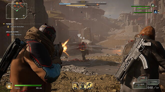 A screenshot of Outriders which shows my character shooting a baddie.