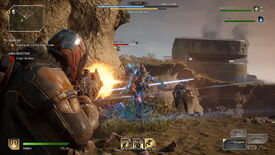 A screenshot of Outriders, which shows me firing shots at an enemy that's charging me down.