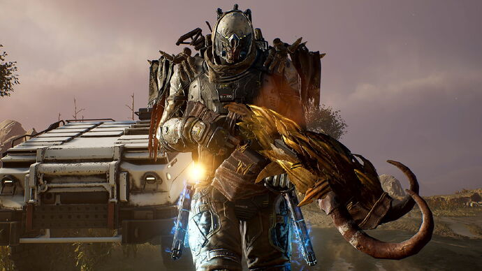 A screenshot of Outriders, which shows a menacing character holding a large rifle that's adorned with horns and feathers.