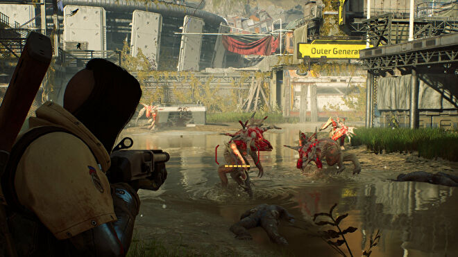 An Outriders screenshot of the player aiming with a shotgun at one of several Perforo enemies heading towards them.
