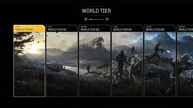 A screenshot of the Outriders World Tier menu, where you select the World Tier you'd like to play with.