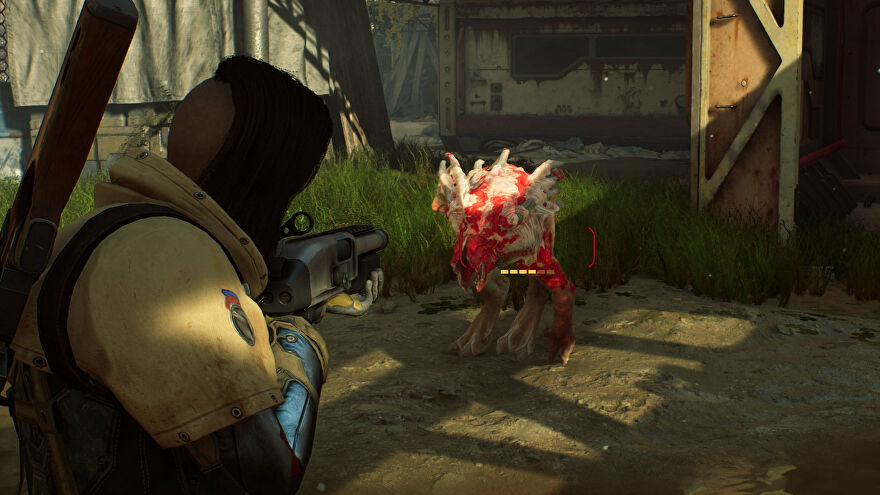 An Outriders screenshot of the player aiming with a shotgun at a Perforo at close range.