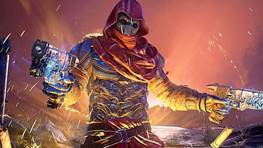 A glowing, hooded character from the Outriders video game holding two pistols in their hands.