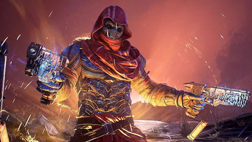 A hooded figure with two pistols in an Outriders screenshot.