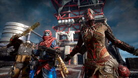 "A screenshot from Outriders, which shows three players facing the camera. One raises their weapon, one stands there looking cool, and the other strikes a ""You want some?"" pose."