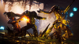 Promotional Outriders art showcasing a character grappling with and shooting an enemy while another enemy in the foreground is impaled by an Anomaly Power.