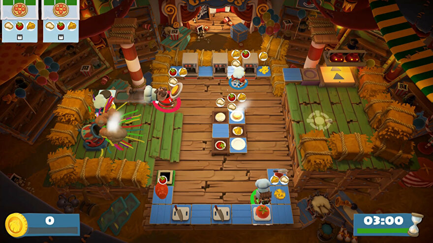 Four players attempt to prepare food in a barn-themed kitchen in Overcooked 2