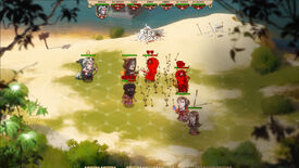 A screenshot of strategy-RPG Overfall, showing grid-based combat between various fighters on a 2D map.