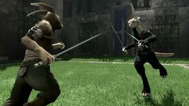 A screenshot of Overgrowth in which an anthropomorphic cat holding two blades rushes towards a shirtless, anthro bunny holding one sword.