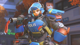 Overwatch character Brigitte dressed in police riot gear, smiling.