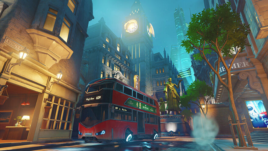 A screenshot of the King's Row map from Overwatch - a red double decker bus in the foreground and Big Ben in the background