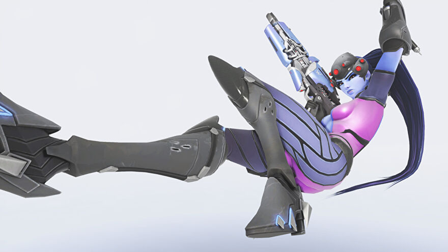 Widowmaker from Overwatch laying down in a white void
