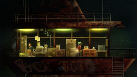 A screenshot of the Oxenfree characters in a room full of radios and electronic equipment.