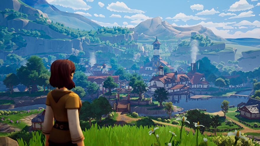 A screenshot of Palia, an MMO, showing a young woman on a hill facing away from the camera, looking down over a cute parochial village surrounded by green hills.