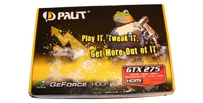 A graphics card box for the Palit GeForce GTX 275, with a buff frog cyborg on the box