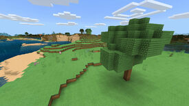 A Minecraft Bedrock screenshot of a landscape displayed using the PastelCraft Texture Pack.