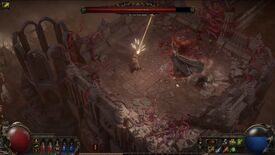 A screenshot of Path Of Exile 2 showing the player in battle on a sandy castle aginst The Perennial King, a tall cloaked figure, who fights using oozy red tentacles.