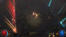 Path Of Exile's battle royale mode. A player runs from an encroaching red zone wall towards a safe blue zone.