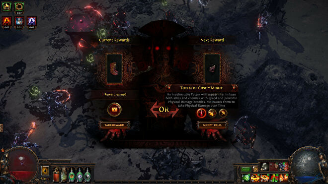 Picking a trial in a Path Of Exile: Ultimatum screenshot.
