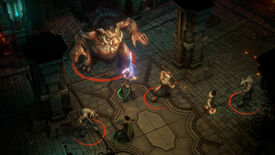 Warriors battle a giant pig monster in Pathfinder: Wrath Of The Righteous