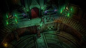 Six adventurers wander a dark dungeon from a topdown perspective in Pathfinder